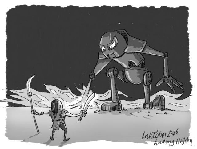 "InkTober day 17: Battle.The robot wasn't sure: ""Is this little guy starting a battle?""."