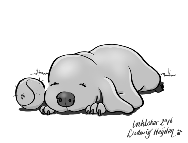 InkTober day 15: Relax. After a hard day's work this puppy needs to relax.